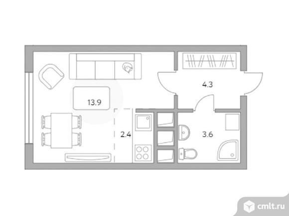 1-комнатная квартира 24,2 кв.м. Фото 1.