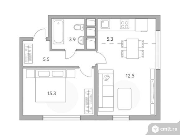 2-комнатная квартира 42,5 кв.м. Фото 1.
