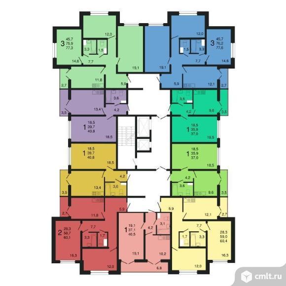 1-комнатная квартира 37 кв.м. Фото 1.