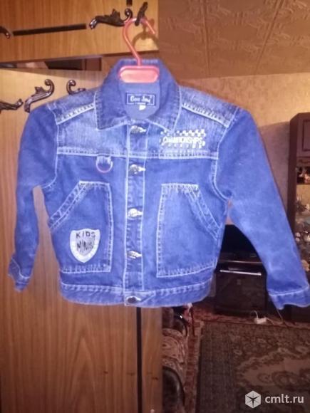 Куртка джинсовая для мальчика 3-4 года. Фото 1.