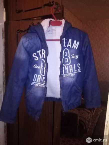 Куртка джинсовая утепленная для мальчика 8-9 лет. Фото 1.