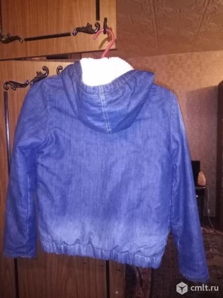 Куртка джинсовая утепленная для мальчика 8-9 лет. Фото 3.
