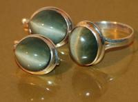хризоберилл кошачий глаз серебро кольцо серьги