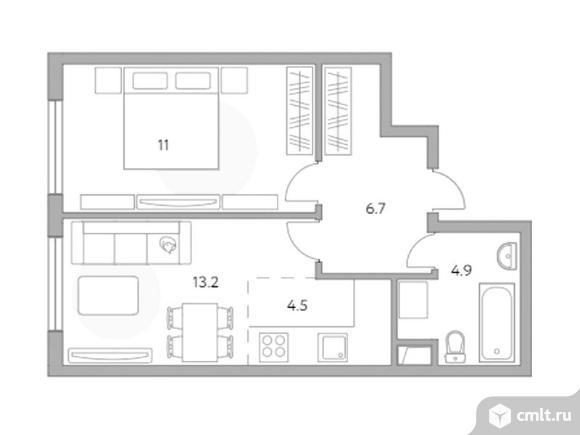 2-комнатная квартира 40,3 кв.м. Фото 1.