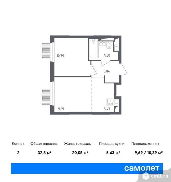 2-комнатная квартира 32,8 кв.м. Фото 1.