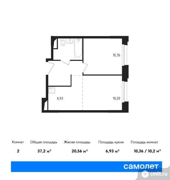 2-комнатная квартира 37,2 кв.м. Фото 1.