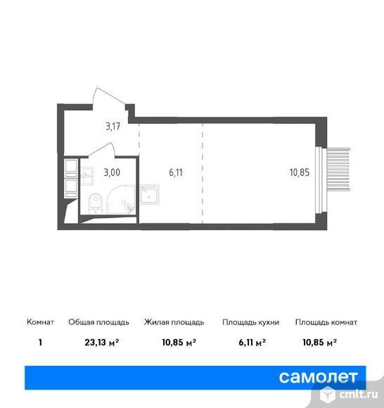 1-комнатная квартира 23,13 кв.м. Фото 1.