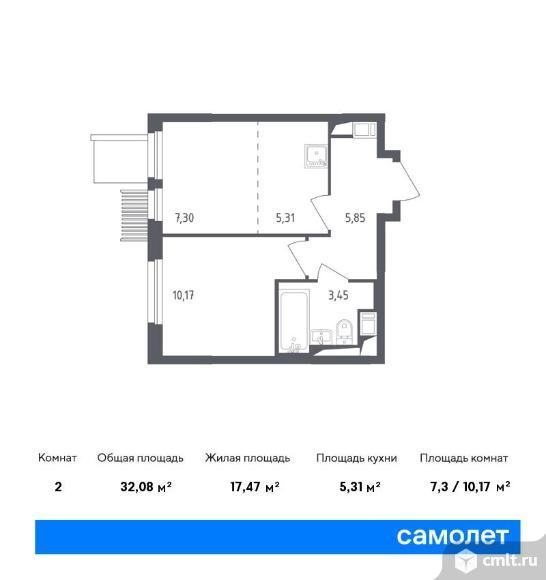 2-комнатная квартира 32,08 кв.м. Фото 1.