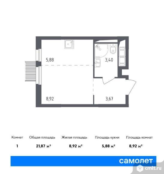 1-комнатная квартира 21,87 кв.м. Фото 1.