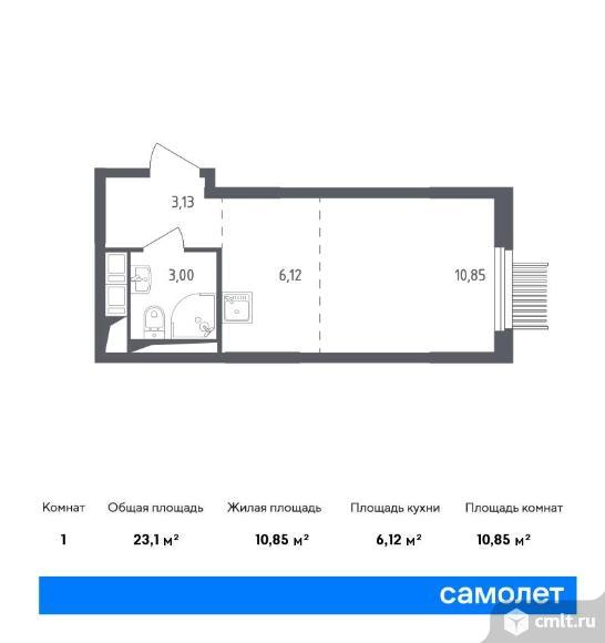 1-комнатная квартира 23,1 кв.м. Фото 1.
