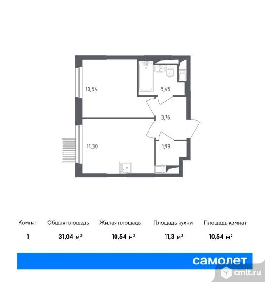 1-комнатная квартира 31,04 кв.м. Фото 1.