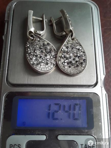 Серьги серебро 925 с фианитом? Вес 12,4 грамма (есть утраты см.фото). Фото 1.