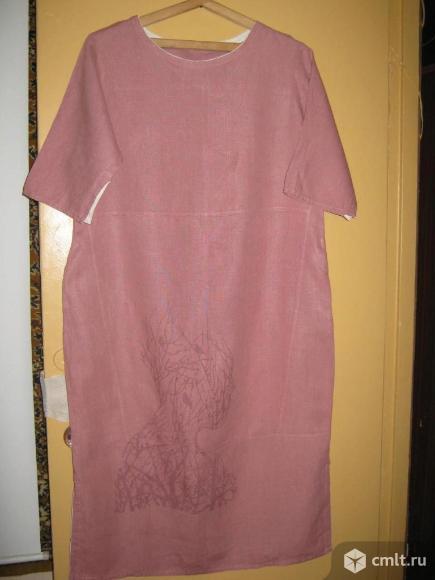 Свободное льняное платье. Фото 1.