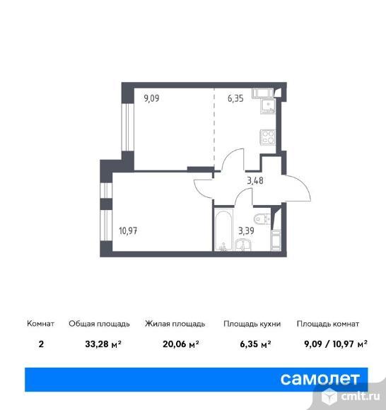 2-комнатная квартира 33,28 кв.м. Фото 1.