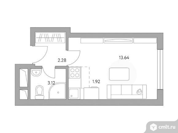 1-комнатная квартира 20,96 кв.м. Фото 1.