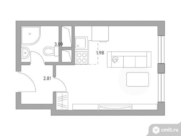 1-комнатная квартира 23,28 кв.м. Фото 1.