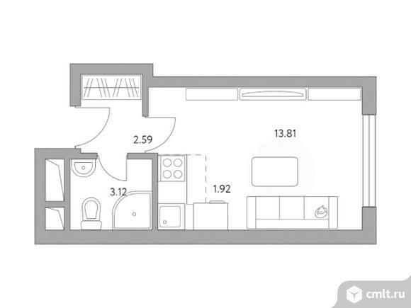 1-комнатная квартира 21,44 кв.м. Фото 1.