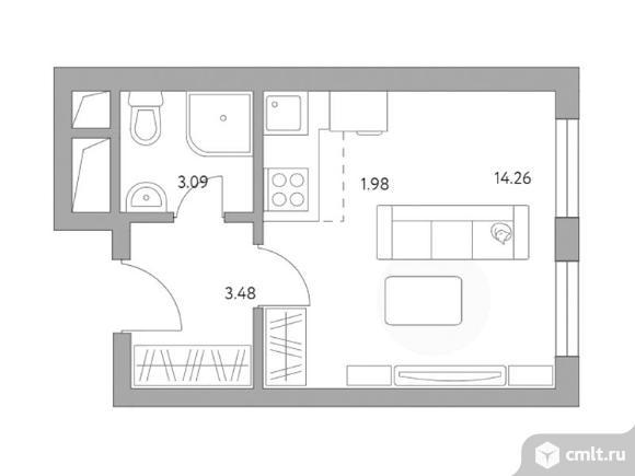 1-комнатная квартира 22,81 кв.м. Фото 1.