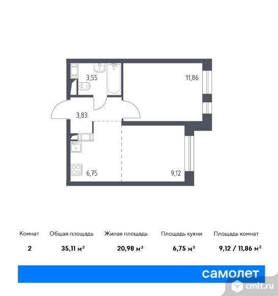 2-комнатная квартира 35,11 кв.м. Фото 1.