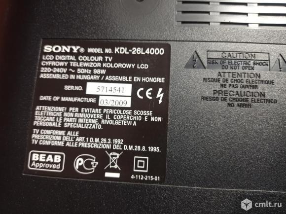 Телевизор ж/к Sony KDL-26L4000. Фото 11.