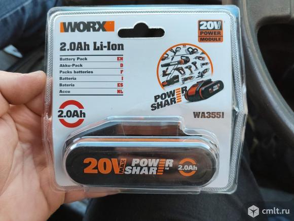 Аккомулятор worx  20 v 2ah. Фото 1.