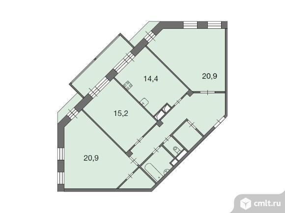 3-комнатная квартира 95,2 кв.м. Фото 1.
