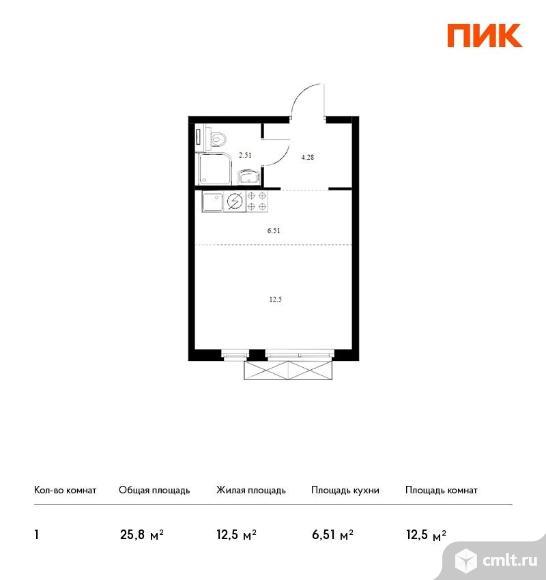 1-комнатная квартира 25,8 кв.м. Фото 1.