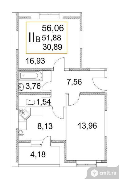 Продам 2-комн. квартиру 57.6 кв.м.. Фото 1.