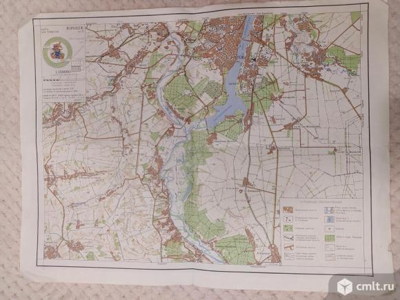 Карта для туристов- Воронеж 1989 г., 3 листа А3. Фото 2.