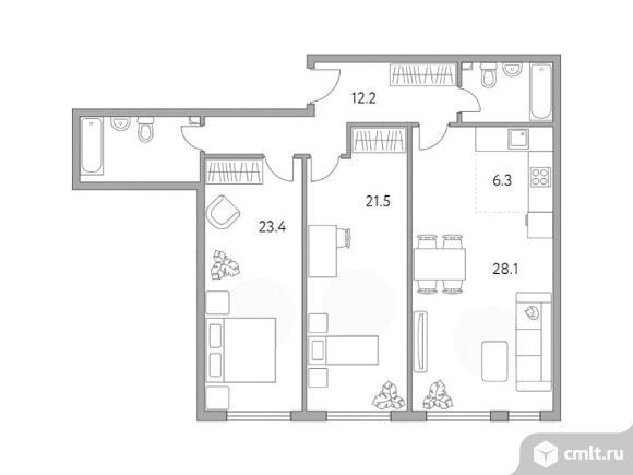 3-комнатная квартира 103,2 кв.м. Фото 1.