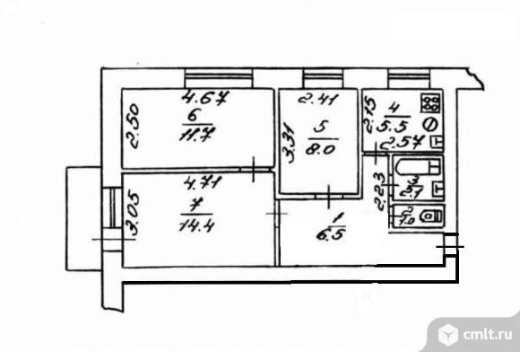 3-комнатная квартира 52 кв.м. Фото 1.