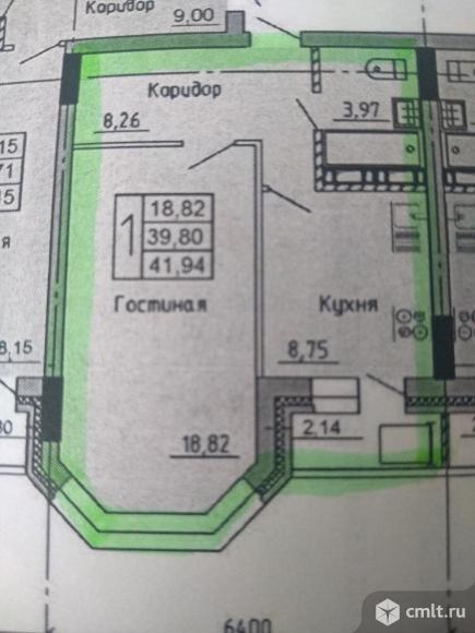 1-комнатная квартира 42 кв.м. Фото 17.