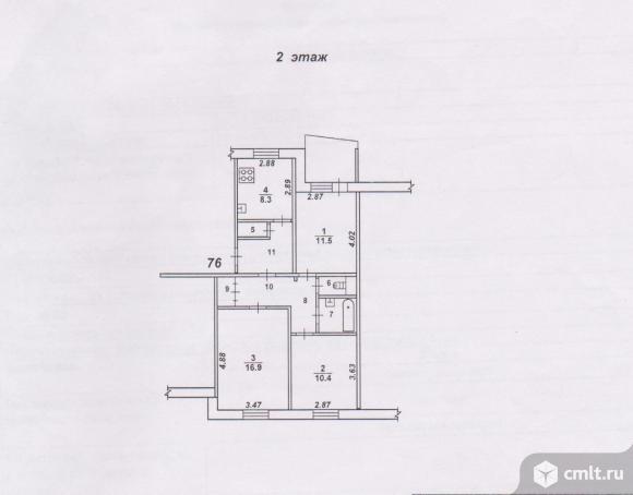 3-комнатная квартира 66 кв.м. Фото 19.
