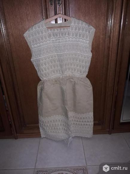 Новое очень качественное платье из льна с пиджаком. Все отделано красивым шитьем.. Фото 1.