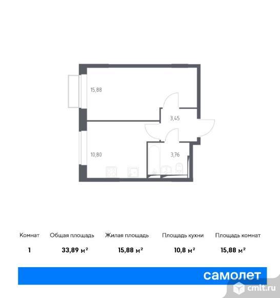 1-комнатная квартира 33,89 кв.м. Фото 1.