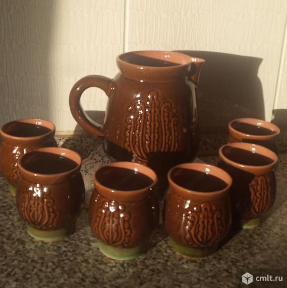 Кувшин со стаканами, керамика. Фото 1.