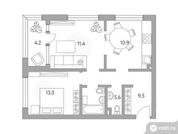 2-комнатная квартира 54,9 кв.м. Фото 1.
