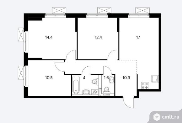 Продам 3-комн. квартиру 70.8 кв.м.. Фото 7.