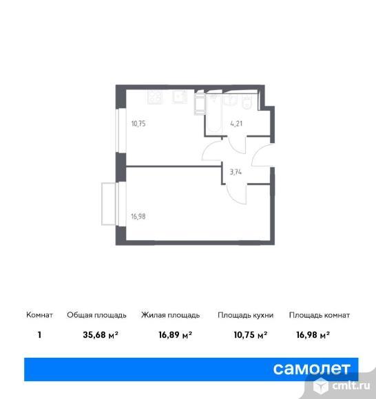 1-комнатная квартира 35,68 кв.м. Фото 1.