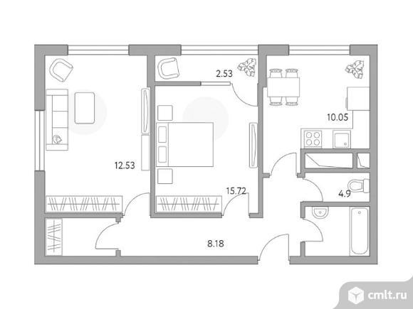 2-комнатная квартира 56,57 кв.м. Фото 1.