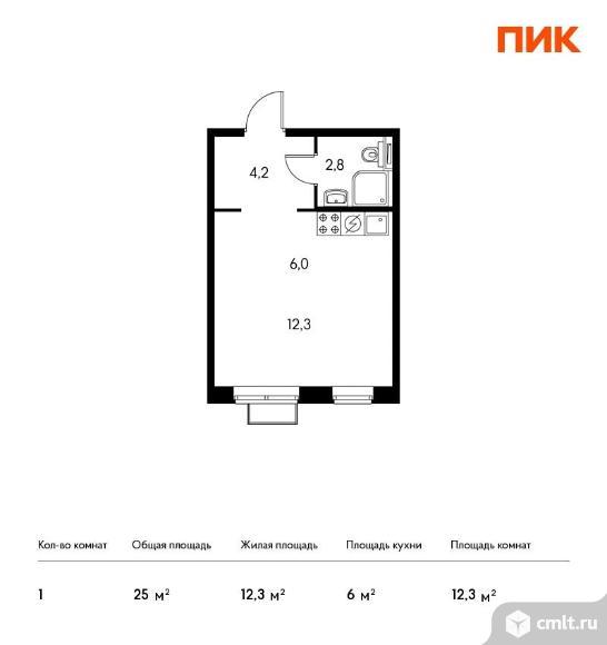 1-комнатная квартира 25 кв.м. Фото 1.
