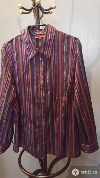 Блуза полосатая шелк 54р новая. Фото 1.