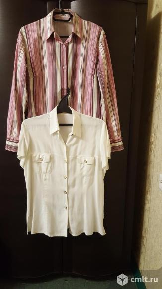 Блуза белая лен 50-52 б.у.. Фото 1.