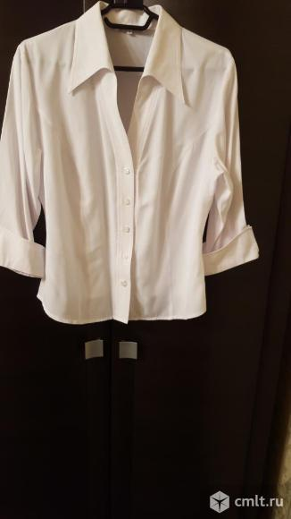 Блуза белая натур шелк 48-50. Фото 1.