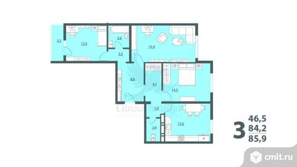 3-комнатная квартира 86 кв.м. Фото 4.