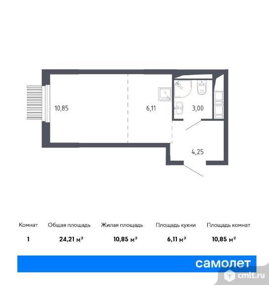1-комнатная квартира 24,21 кв.м. Фото 1.