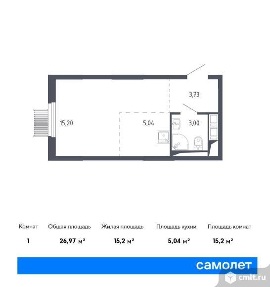 1-комнатная квартира 26,97 кв.м. Фото 1.