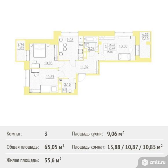 3-комнатная квартира 65,05 кв.м. Фото 1.