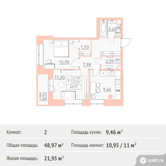 2-комнатная квартира 48,97 кв.м. Фото 1.