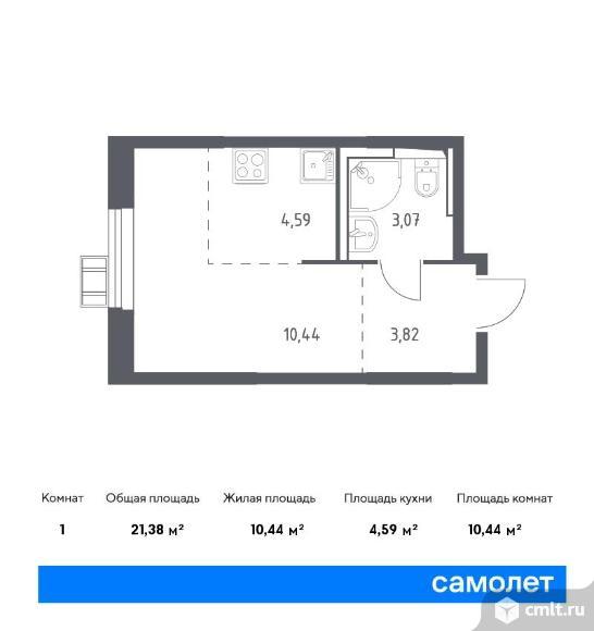 1-комнатная квартира 21,38 кв.м. Фото 1.